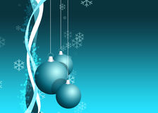 Christmas wallpaper. / card. Christmas balls with curves and snowflake Royalty Free Stock Photography
