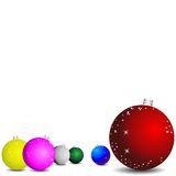 Christmas wallpaper. Christmas background with bright balls of different colors and sizes Stock Image