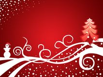 Christmas wallpaper. Christmas red wallpaper with a snowman and Xmas tree Stock Photo