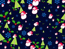 Christmas wallpaper. Decorative seasonal Christmas wallpaper background design with santa, holly, trees and snowflakes Royalty Free Stock Photo