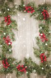 Christmas wallpaper. On old wood with snowflakes Royalty Free Stock Photos