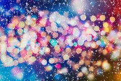 Abstract blurred of blue and silver glittering shine bulbs lights background. Christmas wallpaper decorations concept.xmas holiday festival backdrop:sparkle Stock Photos