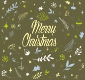 Christmas wallpaper patterns, hand drawn, vintage Royalty Free Stock Photography