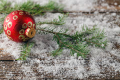 Christmas Wallpaper with spruce boughs and snow Stock Image