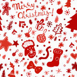 Christmas wallpaper - winter holidays pattern with festive objects Stock Photography