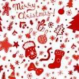 Christmas wallpaper - winter holidays pattern with festive objects. Christmas wallpaper. Red winter holidays pattern with festive objects on white. Hand drawn Stock Photography