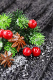 Christmas warm knitted background with fir tree and spices anise Stock Image