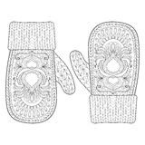 Christmas warm knitted mittens in zentangle style. Hand drawn ha Stock Photo