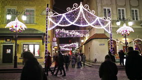 Christmas in Warsaw Old Town at Night in Poland stock video