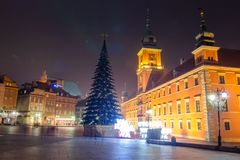 Christmas in Warsaw. Warsaw at night. Christmas tree on main square in evening royalty free stock photos