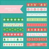 Christmas washi tape. Set of cute colorful christmas washi tape strips stock illustration