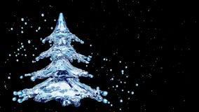 Christmas water splash tree on black background. 3d rendering Royalty Free Stock Image