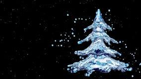 Christmas water splash tree on black background stock footage
