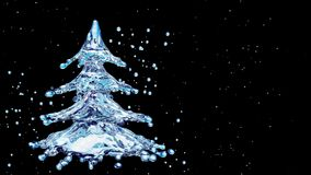 Christmas water splash tree on black background. 3d rendering Royalty Free Stock Photography