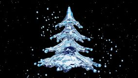 Christmas water splash tree on black background Stock Photos