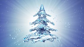 Christmas water splash tree on blue background. 3d rendering Stock Photography