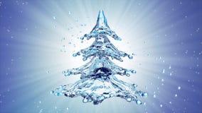 Christmas water splash tree on blue background. 3d rendering Royalty Free Stock Image