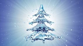 Christmas water splash tree on blue background. 3d rendering Royalty Free Stock Photography