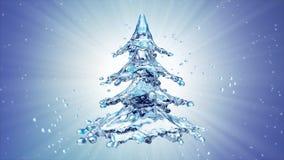Christmas water splash tree on blue background. 3d rendering Stock Photo