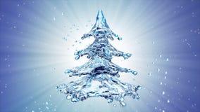Christmas water splash tree on blue background. 3d rendering Royalty Free Stock Photo