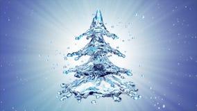 Christmas water splash tree on blue background. 3d rendering Stock Image