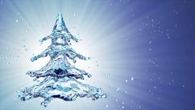 Christmas water splash tree on blue background vector illustration