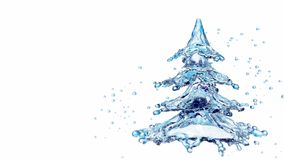 Christmas water splash tree isolated on white. 3d rendering Royalty Free Stock Photo