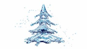 Christmas water splash tree isolated on white stock video