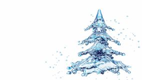 Christmas water splash tree isolated on white. 3d rendering Royalty Free Stock Images
