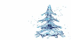 Christmas water splash tree isolated on white. 3d rendering Stock Images