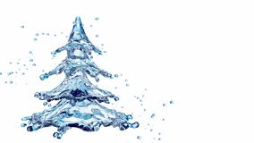 Christmas water splash tree isolated on white stock footage