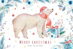 Christmas watercolor bear. Cute kids xmas forest bears animal illustration, new year card or poster. Hand drawn nursery. Christmas watercolor bear. Cute kids vector illustration