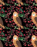 Christmas Watercolor beautiful seamless pattern with owls and Christmas red berries decor. vector illustration