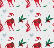 Christmas Watercolor beautiful seamless pattern with Santa Claus, berries, stars, socks and birds stock illustration