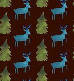 Christmas Watercolor beautiful seamless pattern with Santa, deer, ribbons, bells and tree royalty free illustration
