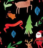 Christmas Watercolor beautiful seamless pattern with Santa, deer, ribbons, bells and tree. Happy New Year decor vector illustration