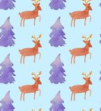 Christmas Watercolor beautiful seamless pattern with Santa, deer, ribbons, bells and tree stock illustration