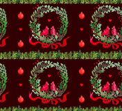 Christmas Watercolor beautiful seamless pattern with wreath, birds, ribbons and balls. stock illustration