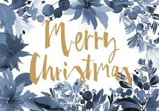Christmas watercolor card. With berries and flowers Royalty Free Stock Photography