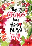 Christmas watercolor card. With berries and flowers Royalty Free Stock Image