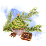 Christmas Watercolor card with Cupcakes Stock Photos