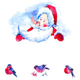 Christmas watercolor card with cute Santa Claus. Vintage Christmas watercolor card with cute Santa Claus, Fairytale watercolor winter illustration, Holiday Vector Illustration