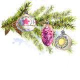 Christmas Watercolor Card with Sprig of Fir Trees. Christmas Watercolor New Year card with Sprig of Fir Trees and Vintage Christmas balls, watercolor Royalty Free Stock Photography