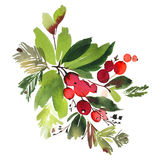 Christmas watercolor card stock illustration
