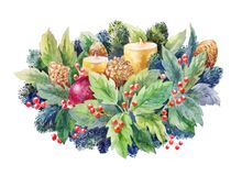 Christmas watercolor composition with holly, candles and fir bran. Ch. Illustration isolated on white background Stock Image