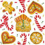 Christmas watercolor cookies pattern for a gift cards Stock Photo