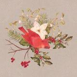 Christmas Watercolor Decorative Composition Stock Photo