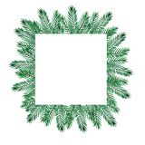 Christmas watercolor frame with green pain branches and red berries royalty free illustration