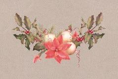 Christmas Watercolor Garland Stock Photo