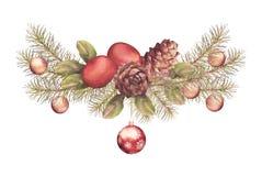 Christmas Watercolor Garland Royalty Free Stock Photo